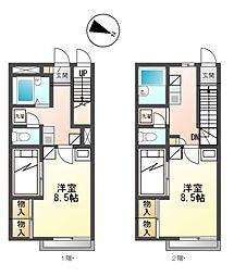 兵庫県たつの市龍野町日飼の賃貸アパートの間取り