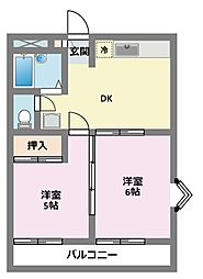 神奈川県横浜市鶴見区馬場2丁目の賃貸アパートの間取り