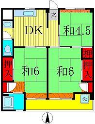 ビレッジハウス栗ヶ沢2号棟[2階]の間取り