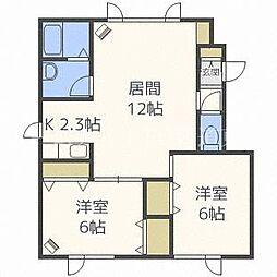 北海道札幌市北区屯田三条7丁目の賃貸アパートの間取り