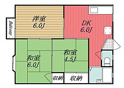 千葉県成田市美郷台1丁目の賃貸アパートの間取り