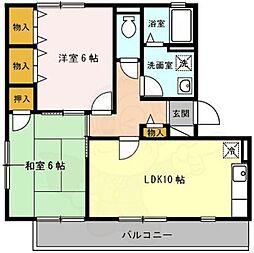 Osaka Metro御堂筋線 なかもず駅 徒歩10分の賃貸アパート 3階2DKの間取り