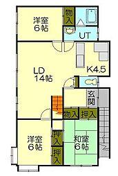 北海道小樽市幸3丁目の賃貸アパートの間取り