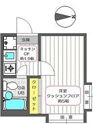 シャンブル一之江II[1階]の間取り