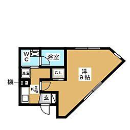 東急世田谷線 松陰神社前駅 徒歩2分の賃貸マンション 4階1Kの間取り