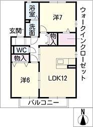アムールB棟[1階]の間取り