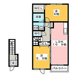 メゾンクレアールD[2階]の間取り