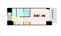 レオンコンフォート大阪ドームシティ 2階1Kの間取り