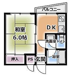 大阪府門真市上島町の賃貸マンションの間取り