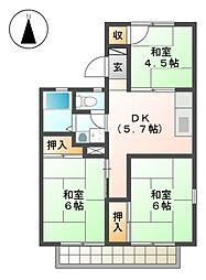 サンハイツ岩田 A棟[2階]の間取り