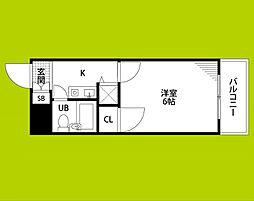トーカン東淀川キャステール 9階1Kの間取り