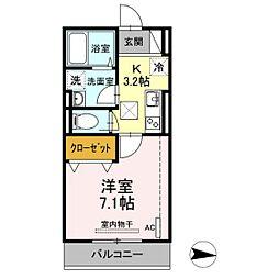 仮)D-room新川崎 2階1Kの間取り