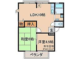 京都府京都市山科区東野百拍子町の賃貸アパートの間取り