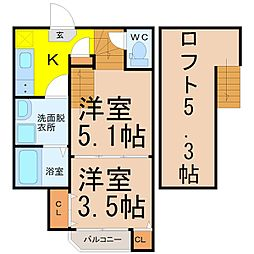 愛知県名古屋市中村区栄生町の賃貸アパートの間取り