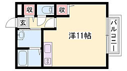 JR山陽本線 相生駅 バス30分 播磨高原中学校下車 徒歩3分の賃貸アパート 1階ワンルームの間取り