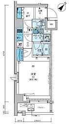 リヴシティ武蔵野ミュジオ 5階1Kの間取り