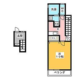 岡山県岡山市南区豊成3の賃貸アパートの間取り