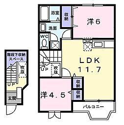 コーポフラワー III[0202号室]の間取り