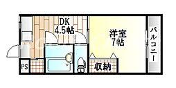 徳島県徳島市庄町4丁目の賃貸マンションの間取り