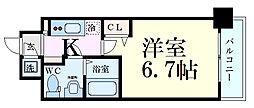 Osaka Metro谷町線 中崎町駅 徒歩7分の賃貸マンション 7階1Kの間取り