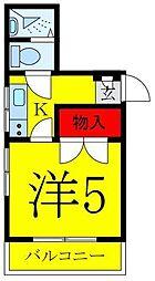 JR埼京線 板橋駅 徒歩13分の賃貸マンション 2階1Kの間取り