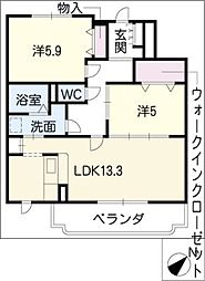 K&K[4階]の間取り