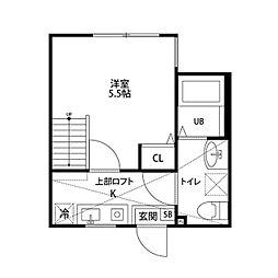 神奈川県大和市福田6の賃貸アパートの間取り
