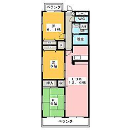 愛知県名古屋市昭和区鶴羽町2丁目の賃貸マンションの間取り