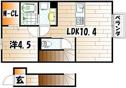 セジュール花III B[2階]の間取り