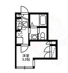 東急田園都市線 駒沢大学駅 徒歩5分の賃貸アパート 2階ワンルームの間取り