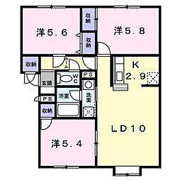 北海道札幌市清田区真栄二条2の賃貸アパートの間取り