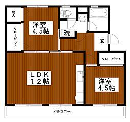 東京都多摩市豊ヶ丘2丁目の賃貸マンションの間取り