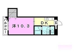 第8みのりハイツ福音寺 4階1DKの間取り