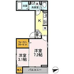 都電荒川線 小台駅 徒歩4分の賃貸アパート 2階2Kの間取り