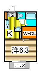 埼玉県さいたま市緑区東浦和4-の賃貸アパートの間取り