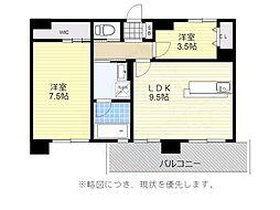 西鉄天神大牟田線 薬院駅 徒歩12分の賃貸マンション 15階2LDKの間取り