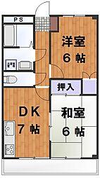 エンジェル乙媛I 2階2DKの間取り