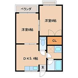 Pal富山 2階2DKの間取り