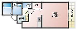 大阪府大阪市阿倍野区天王寺町北2丁目の賃貸アパートの間取り