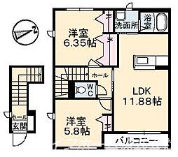 シャーメゾンプランドールF[2階]の間取り