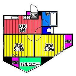 福岡県福岡市博多区諸岡6丁目の賃貸マンションの間取り