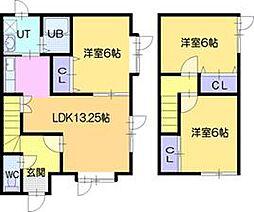 [テラスハウス] 北海道江別市上江別東町 の賃貸【/】の間取り