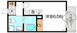 サンクチュアリ北梅田 5階ワンルームの間取り