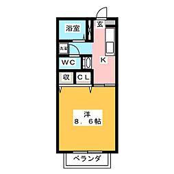 プラッツ21 D棟[2階]の間取り