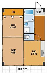 福田ハウス[3階]の間取り