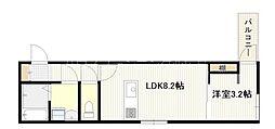 広島電鉄宮島線 高須駅 徒歩2分の賃貸アパート 1階1LDKの間取り