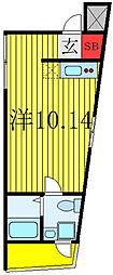 JR山手線 田端駅 徒歩15分の賃貸マンション 2階ワンルームの間取り
