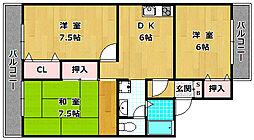 大阪府枚方市中宮山戸町の賃貸アパートの間取り