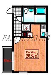 JR山手線 代々木駅 徒歩7分の賃貸マンション 3階ワンルームの間取り