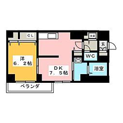 アムール香川 3階1DKの間取り